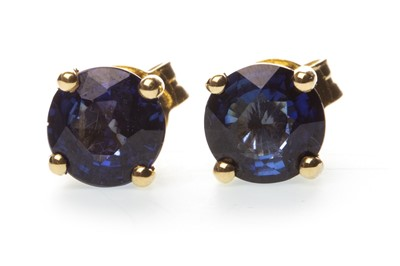 Lot 35-A PAIR OF SAPPHIRE STUD EARRINGS