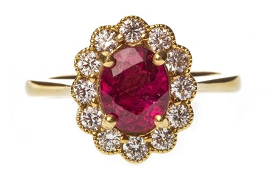 Lot 37-A RUBY AND DIAMOND CLUSTER RING