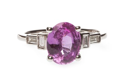 Lot 38-A PINK SAPPHIRE AND DIAMOND RING