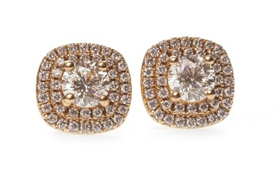 Lot 43-A PAIR OF DIAMOND CLUSTER EARRINGS