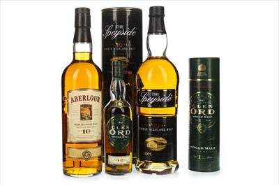 Lot 1305-ABERLOUR 10 YEARS OLD, THE SPEYSIDE 10 YEARS OLD AND GLEN ORD 12 YEARS OLD