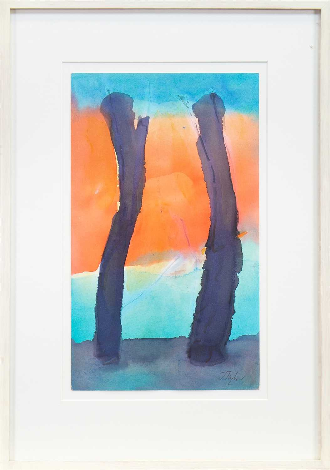 Lot 503-BLACK TREES, A WATERCOLOUR BY JOHN TAYLOR
