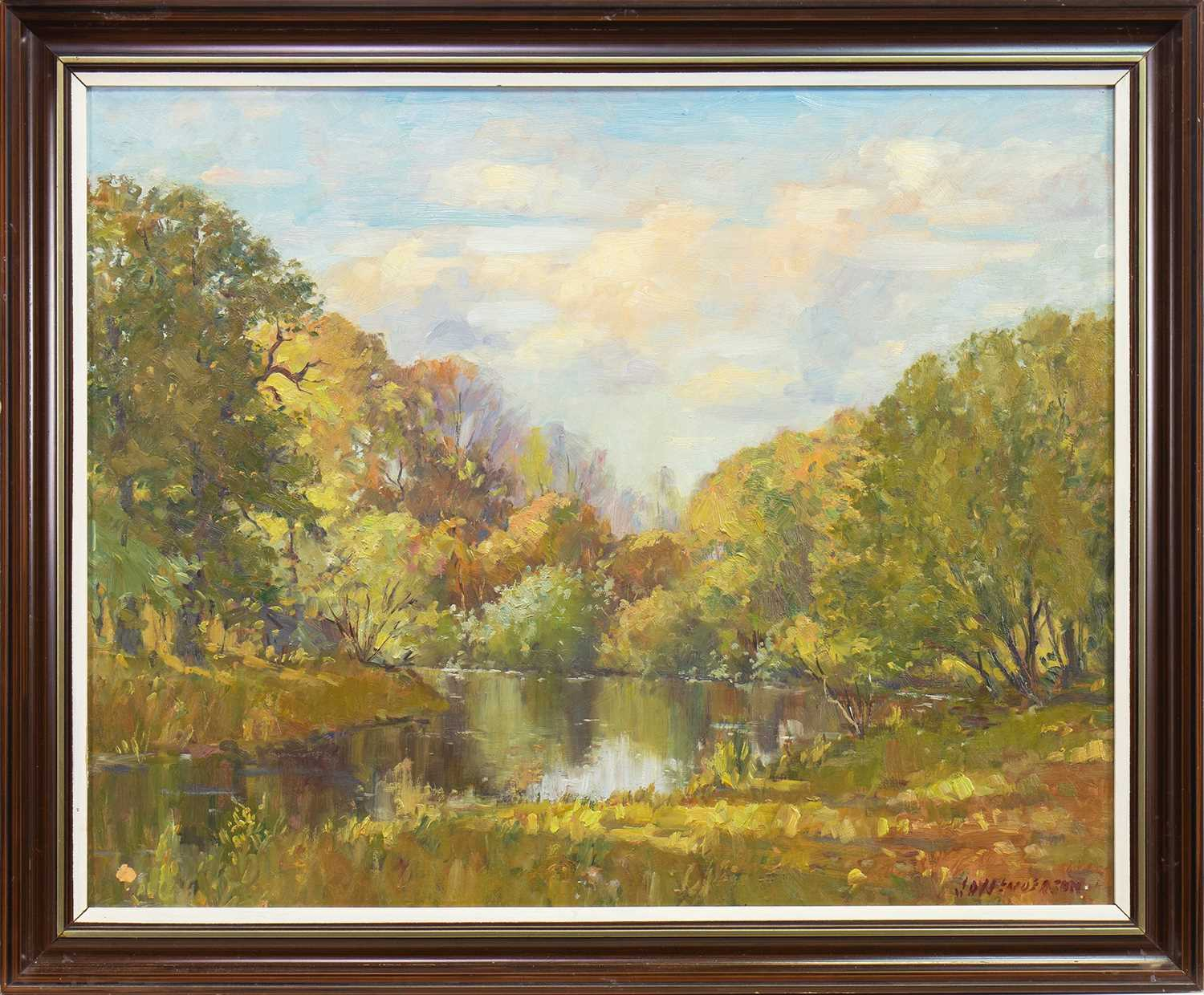 Lot 501-AUTUMNAL LAKE SCENE, AN OIL BY J HENDERSON
