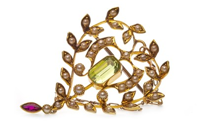 Lot 57-A SEED PEARL AND GEM SET BROOCH PENDANT