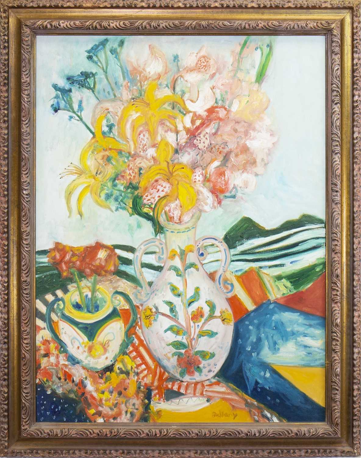 Lot 8-GARDEN FLOWERS, AN OIL BY JOHN BELLANY