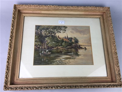 Lot 6-BOAT IN CALM WATERS, A WATERCOLOUR BY MURRAY MACDONALD