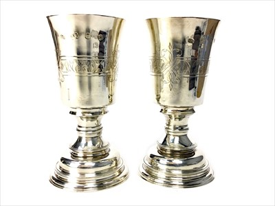 Lot 837-A PAIR OF CONTEMPORARY SILVER GOBLETS