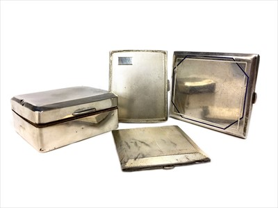 Lot 839-A GEORGE V SILVER CIGARETTE BOX ALONG WITH TWO SILVER CIGARETTE CASES AND A COMPACT