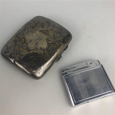 Lot 12-A SILVER CIGARETTE CASE, COINS AND BADGES