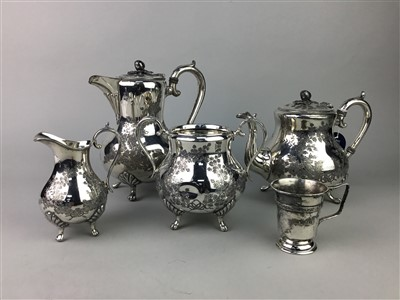 Lot 21-A SILVER PLATED TEA SERVICE AND A SILVER PLATED CHRISTENING MUG
