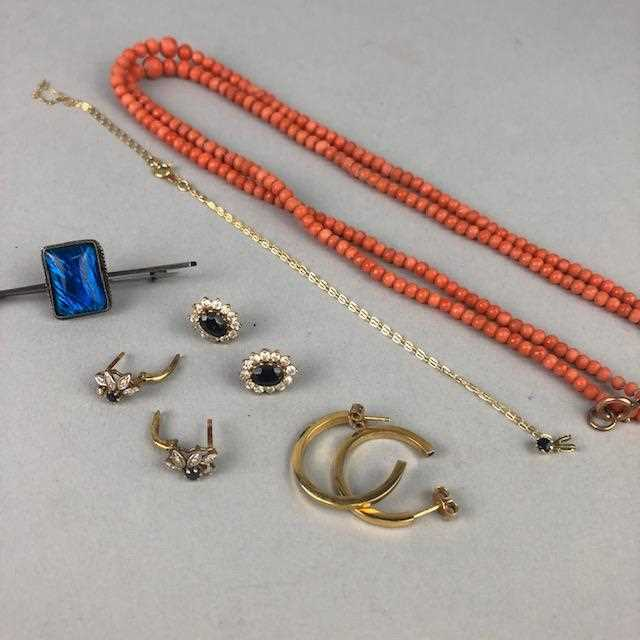 Lot 22-A LOT OF THREE PAIRS OF EARRINGS AND A BROOCH