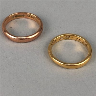 Lot 36-AN EIGHTEEN CARAT GOLD WEDDING BAND AND ANOTHER