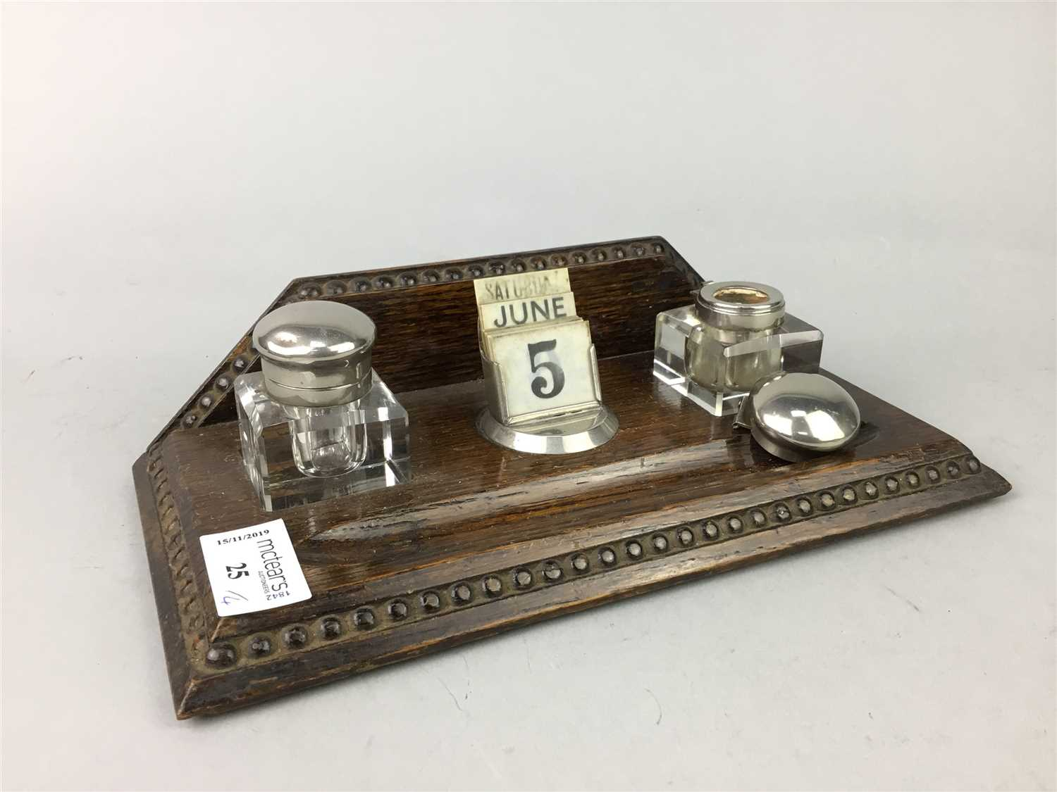 Lot 25-A MID 20TH CENTURY OAK DESK STAND AND TWO RONSON TABLE LIGHTERS