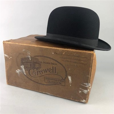 Lot 27-A BLACK TOP HAT ALONG WITH A BOWLER HAT