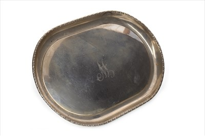 Lot 842-AN EARLY 20TH CENTURY SILVER TRAY