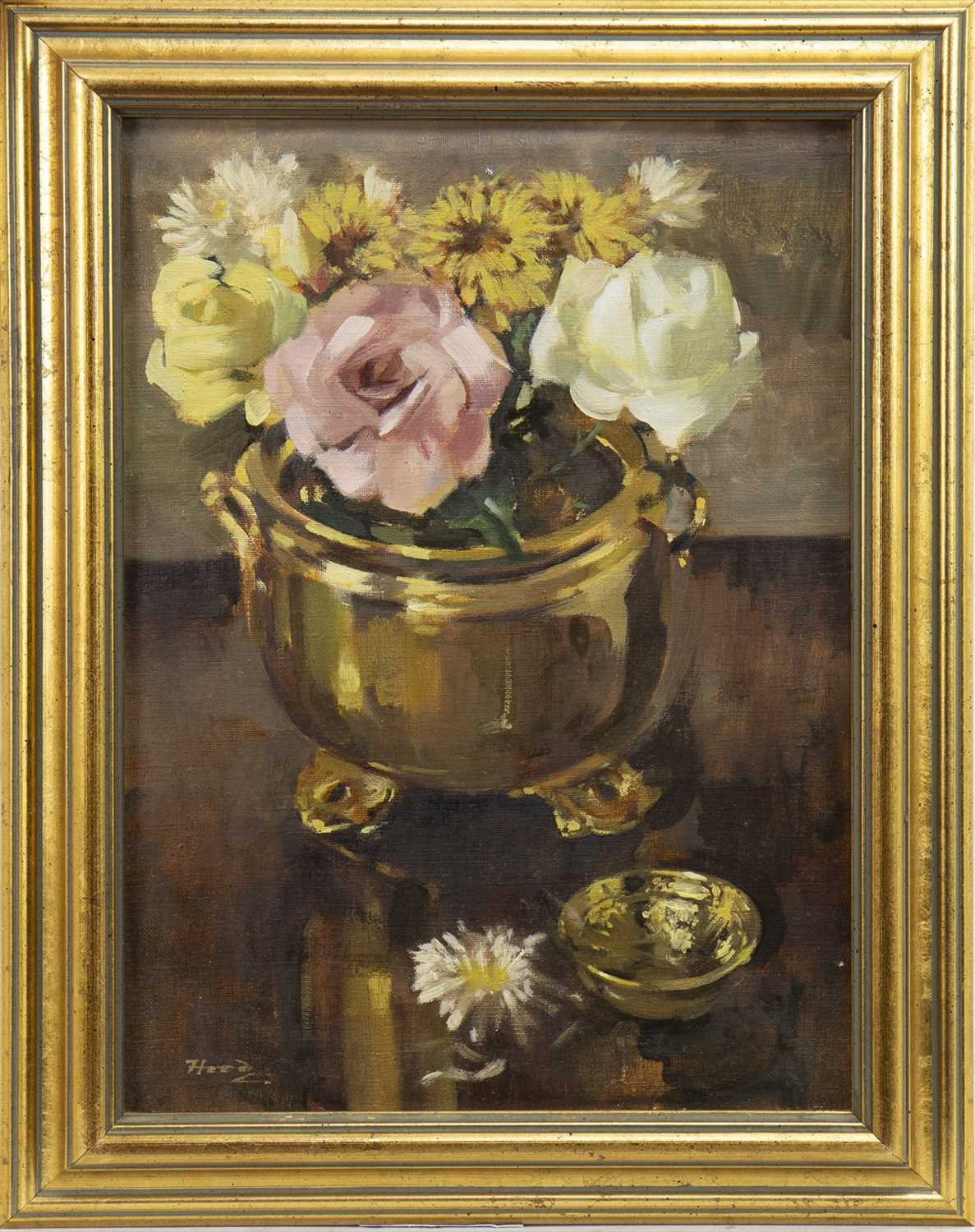 Lot 4-ROSES AND CHRYSANTHEMUMS, AN OIL BY ERNEST HOOD