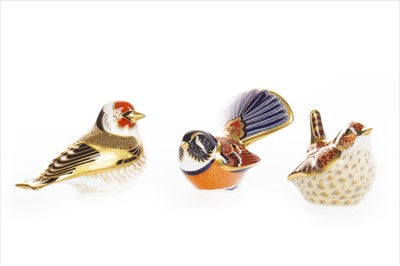 Lot 1208-A LOT OF THREE ROYAL CROWN DERBY BIRD PAPERWEIGHTS