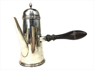 Lot 843-SILVER CHOCOLATE POT OF QUEEN ANNE DESIGN