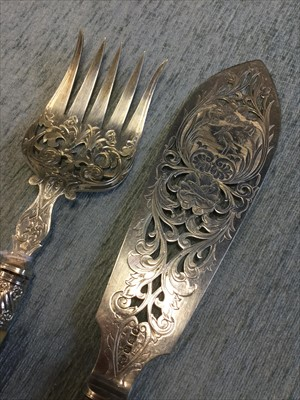 Lot 804-A PAIR OF VICTORIAN SILVER FISH SERVERS