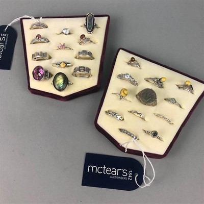 Lot 10-A LOT OF SILVER DRESS RINGS