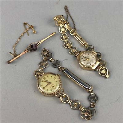 Lot 1-A LADY'S TUDOR WRISTWATCH, ANOTHER WRISTWATCH AND A BROOCH