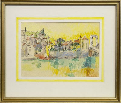 Lot 415-PUY, L'EVEQUE, A WATERCOLOUR BY CYNTHIA WALL