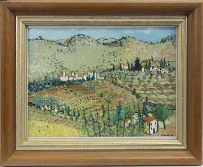 Lot 42-TUSCAN LANDSCAPE, NEBBIANA, AN OIL BY CARLO ROSSI