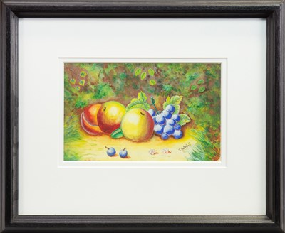 Lot 517-STILL LIFE OF PEACHES AND GRAPES