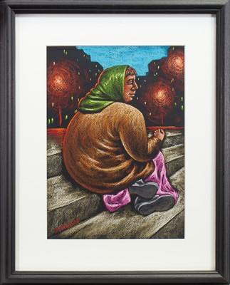 Lot 530-BEGGAR WOMAN IN PARIS, A PASTEL BY GRAHAM MCKEAN