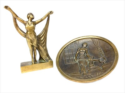 Lot 1611-AN ART DECO STYLE BRONZE FIGURE AND A PLAQUE