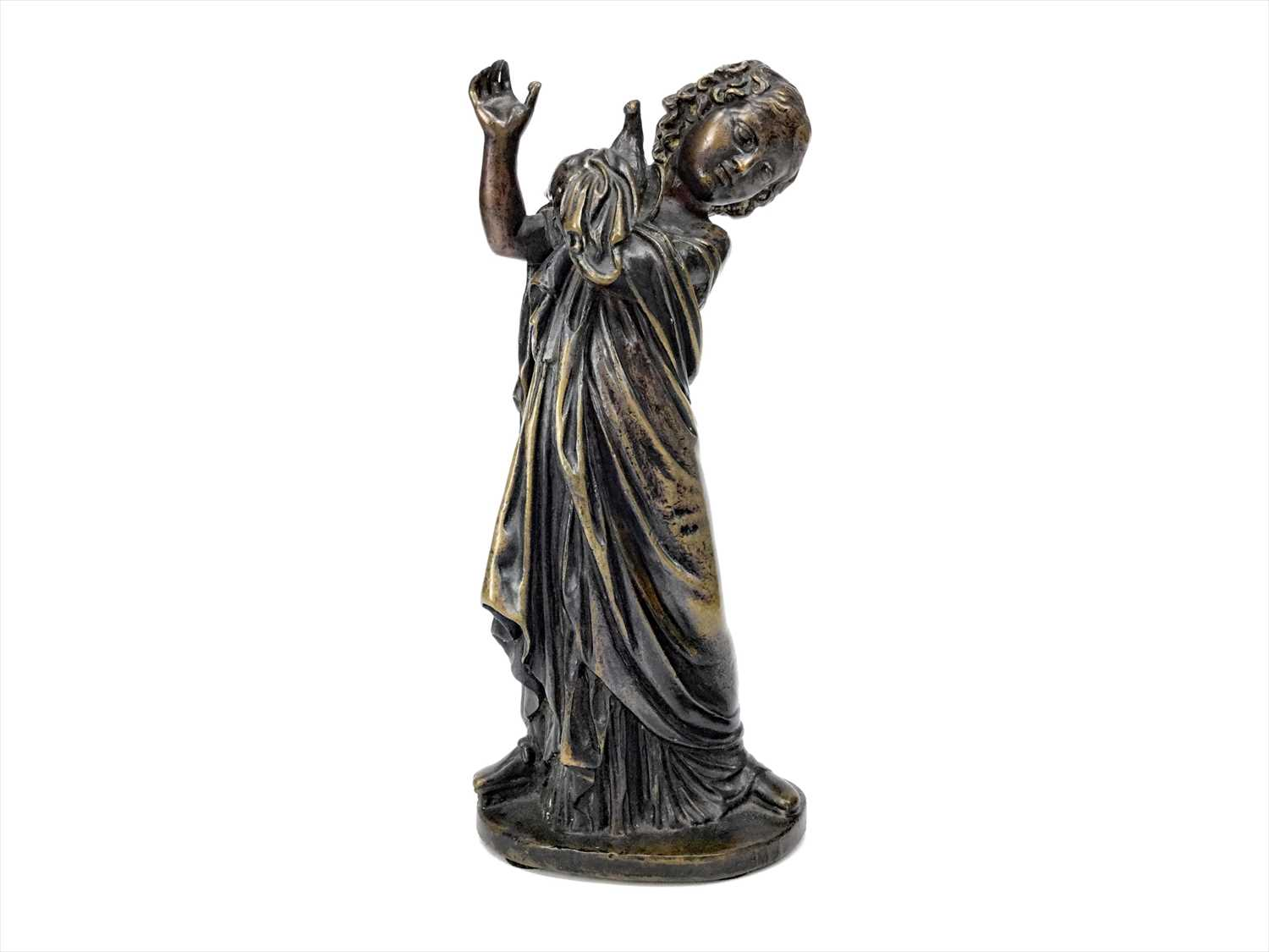 Lot 1606-A 19TH CENTURY BRONZE FIGURE OF A GIRL AND A BIRD