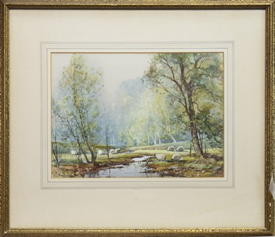 Lot 402-SUMMERTIME ON A TROSSACHS BURNS, A WATERCOLOUR BY TOM CAMPBELL