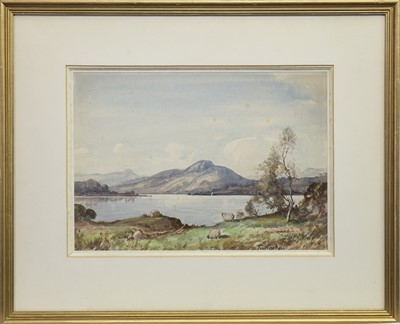 Lot 405-SHEEP GRAZING BY A LOCH, A WATERCOLOUR BY TOM CAMPBELL