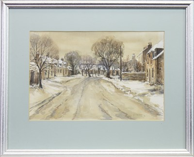 Lot 407-WINTER STREET SCENE, A WATERCOLOUR BY J STEVENSON