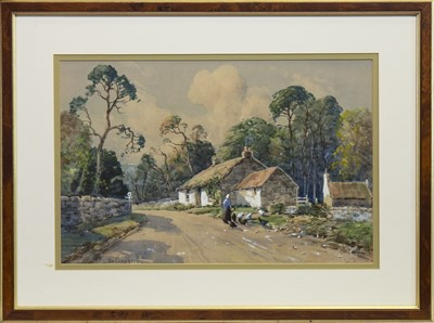 Lot 410-HENS FEEDING BY A COTTAGE, A WATERCOLOUR BY TOM CAMPBELL