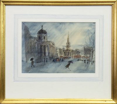 Lot 411-TRAFALGAR SQUARE, A WATERCOLOUR BY V H DRUMMOND