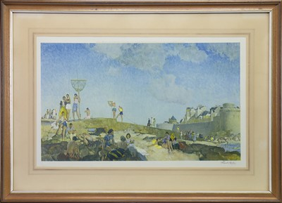 Lot 412-WOMEN ON A CROWDED BEACH, A COLOUR PRINT BY WILLIAM RUSSELL FLINT