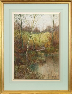 Lot 22-WOODLANDS POND, A WATERCOLOUR BY JOHN MCWHIRTER