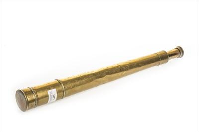 Lot 1125-A 19TH CENTURY BRASS SINGLE DRAW TELESCOPE