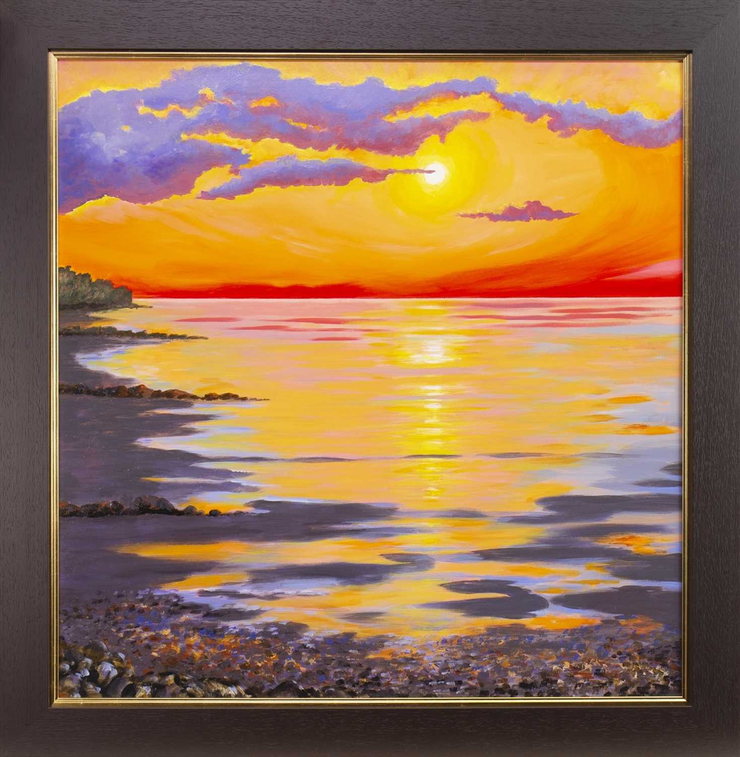 Lot 12-BRIGHT SUNSET, AN OIL BY SANDRA FRANCIS