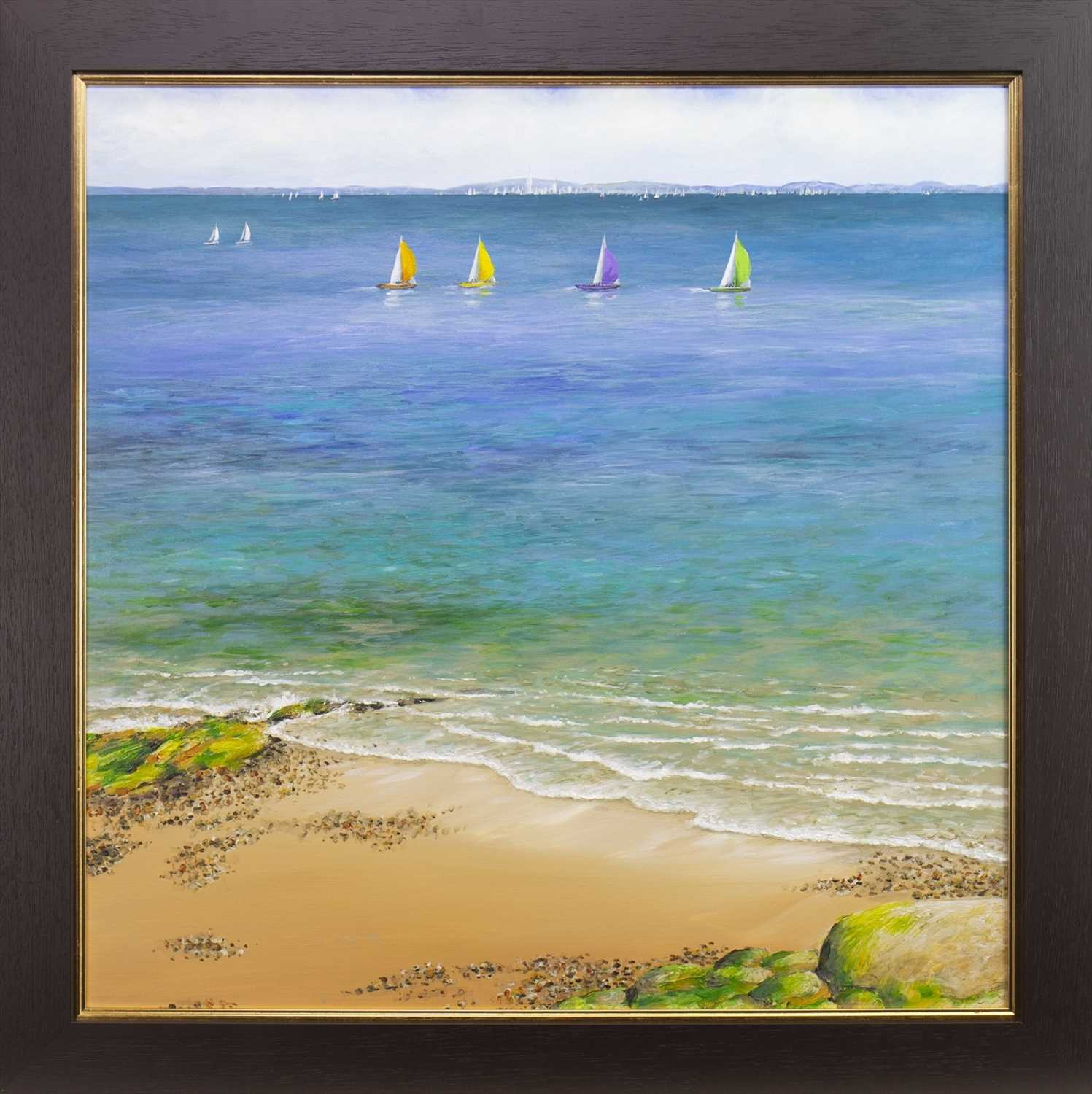Lot 13-SPINMAKERS UP ON A CALM DAY, AN OIL BY SANDRA FRANCIS