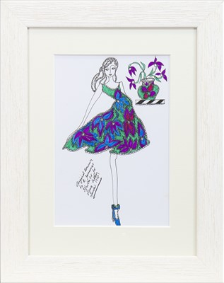 Lot 36-ORIGINAL ILLUSTRATION OF DESIGNS FOR LAURA ASHLEY, BY ROZ JENNINGS