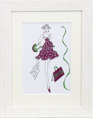 Lot 38-ORIGINAL ILLUSTRATION OF DESIGNS FOR LAURA ASHLEY, BY ROZ JENNINGS