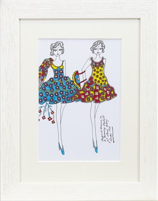 Lot 39-ORIGINAL ILLUSTRATION OF DESIGNS FOR LAURA ASHLEY, BY ROZ JENNINGS