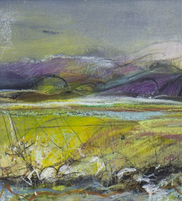 Lot 22-SUNLIT FIELDS, A MIXED MEDIA BY MAY BYRNE