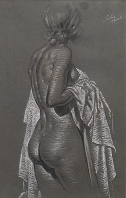 Lot 423-WOMAN WITH WHITE CLOTH, A CHARCOAL BY COLIN GIBSON
