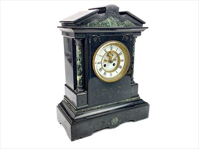 Lot 1126-A VICTORIAN BLACK SLATE AND VERT MARBLE MANTEL CLOCK