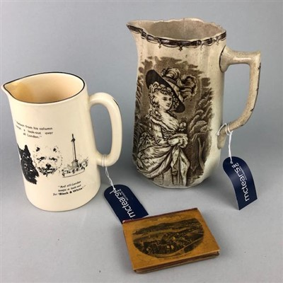 Lot 3-TWO JUGS AND A MAUCHLINE WARE BOOK