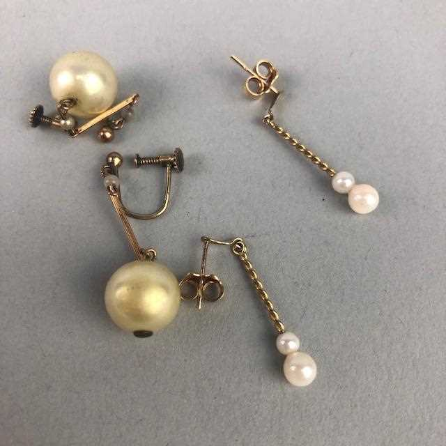 Lot 16-A LOT OF TWO PAIRS OF 20TH CENTURY PEARL EARRINGS