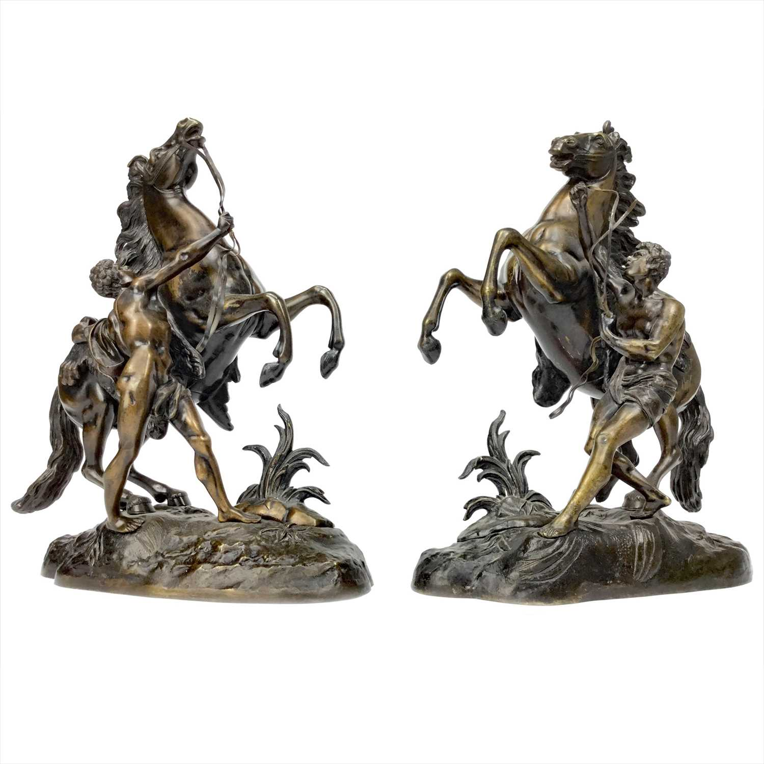 Lot 1616-A PAIR OF VICTORIAN BRONZE MARLEY HORSES AFTER COUSTOU